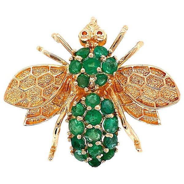Emerald and Gold Rozental Bee Brooch Pin Pendant Estate Fine Jewelry