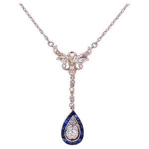 Edwardian Diamond and Sapphire Platinum on Gold Necklace Estate Fine Jewelry