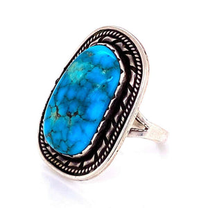 Native American Navajo Old Pawn Turquoise 925 Silver Ring Estate Fine Jewelry