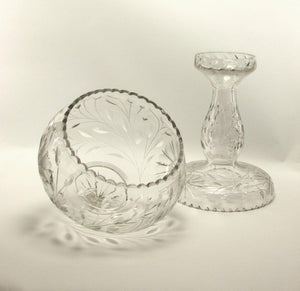 Beautiful American Cut Crystal Bowl Reversible Pedestal Stand, circa 1880s