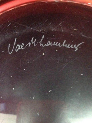 Signed Val St. Lambert Raspberry Crystal Center Bowl