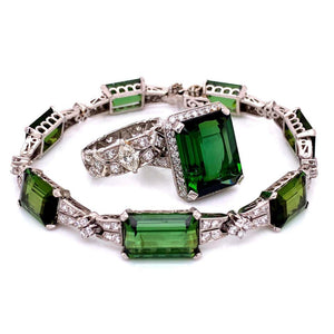 13.65 Carat Green Tourmaline and Diamond Platinum Ring Estate Fine Jewelry