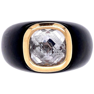 12.2 Carat Quartz and Black Resin Gold Cocktail Ring Estate Fine Jewelry