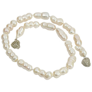 Striking Large White Baroque Freshwater Pearl Necklace