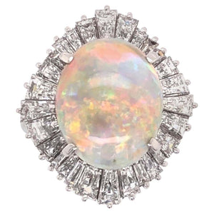 5.82 Ct White Opal Diamond Platinum Ballerina Cocktail Ring