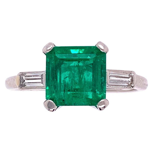 1.93 Carat Green Emerald and Baguette Diamond Platinum Ring Estate Fine Jewelry