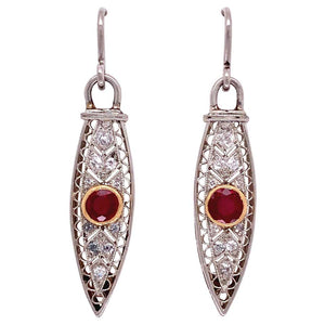 Art Deco Style Ruby and Diamond Platinum Dangle Earrings Fine Estate Jewelry