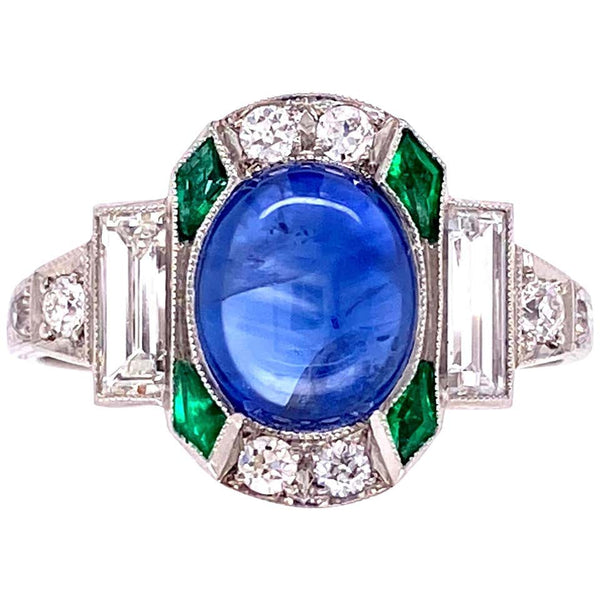 Sapphire Emerald and Diamond Art Deco Style Platinum Ring Fine Estate Jewelry