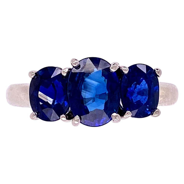 3.30 Carat Blue Sapphire Three-Stone Platinum Ring Fine Estate Jewelry