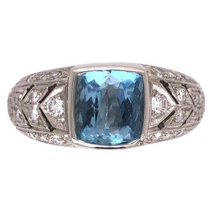 2.00 Carat Aquamarine Diamond Platinum Designer Ring James Fine Estate Jewelry