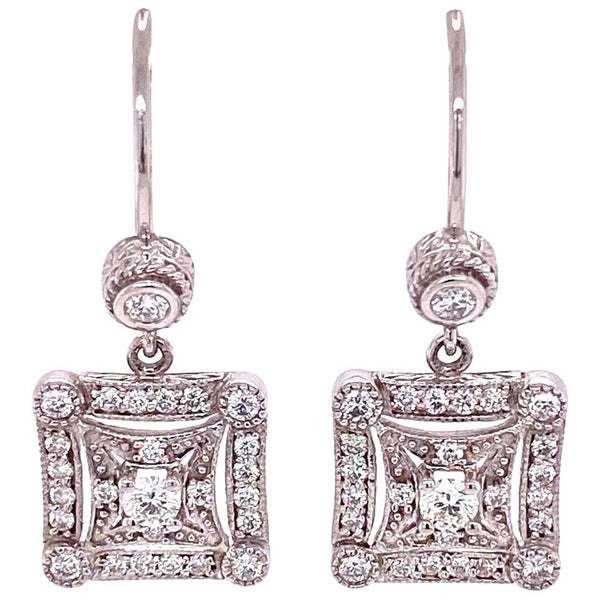 Penny Preville Diamond White Gold Designer Drop Earrings
