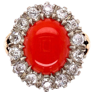 2 Carat Coral and Diamond Gold Cocktail Ring Fine Estate Jewelry