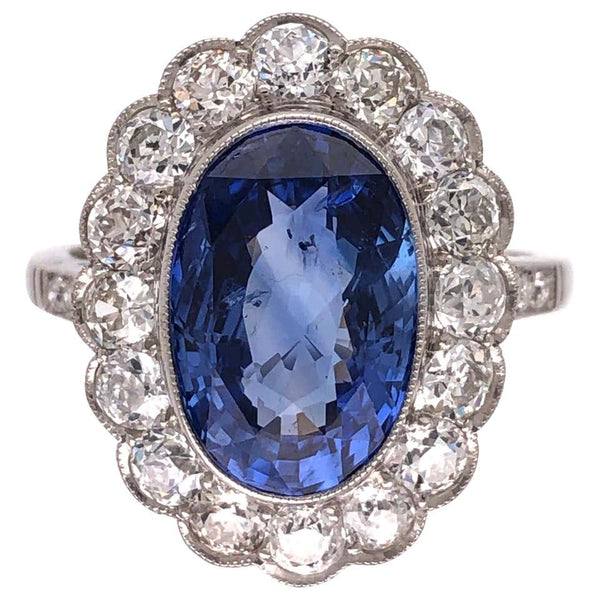 4.07 Carat No Heat Sapphire and Diamond Platinum Ring Estate Fine Jewelry