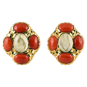 Fluorite and Red Coral Gold Clip-On Earrings Tony Duquette Fine Jewelry