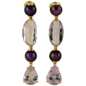 Amethyst and Star Ruby Gold Drop Clip-On Earrings Tony Duquette Fine Jewelry