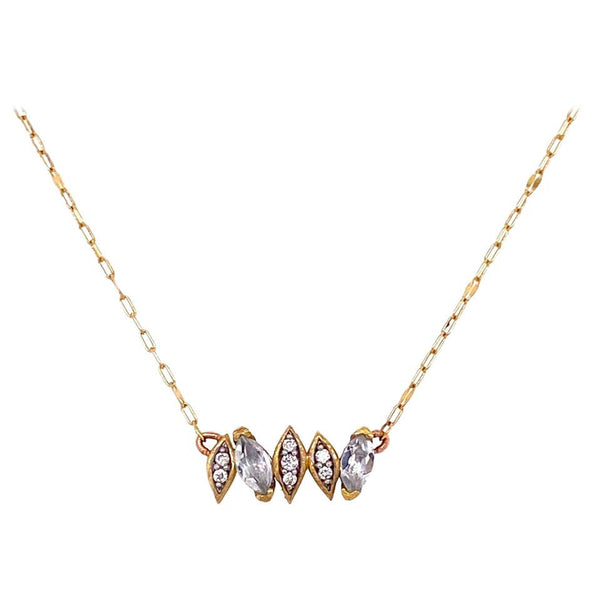 Diamond and White Topaz Jude Frances 18K Gold Necklace Estate Fine Jewelry