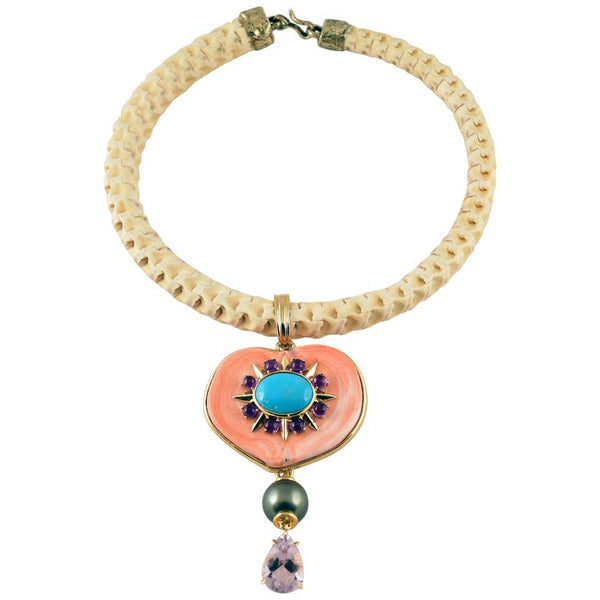 Coral, Turquoise, Amethyst and Pearl Gold Necklace Tony Duquette Fine Jewelry