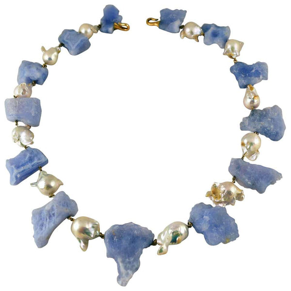 Chalcedony and Baroque Pearl Statement Necklace Tony Duquette Fine Jewelry