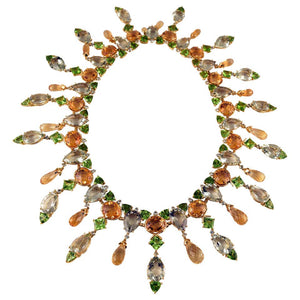 Peridot Citrine Amethyst and Zircon Gold Necklace Tony Duquette Fine Jewelry