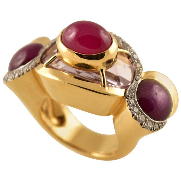 Pink Amethyst, Star Ruby, Ruby and Diamond Gold Ring Tony Duquette Fine Jewelry