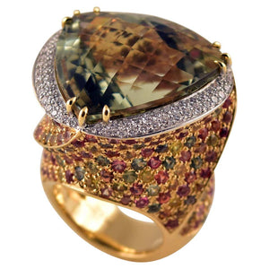 Amethyst Peridot Citrine and Diamond 18K Gold Ring Tony Duquette Fine Jewelry
