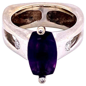 Step Cut Amethyst and Diamond Gold Tiberio Cocktail Ring Fine Estate Jewelry