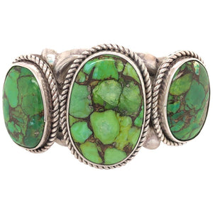 Native American Navajo Green Turquoise 925 Silver Cuff Bracelet Estate Jewelry