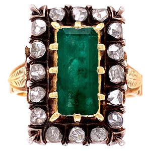 Emerald and Diamond Victorian Style Gold Cocktail Ring Estate Fine Jewelry