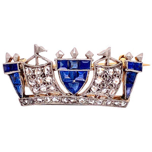 Edwardian Sapphire and Diamond Crown Heirloom Brooch Pin Estate Fine Jewelry