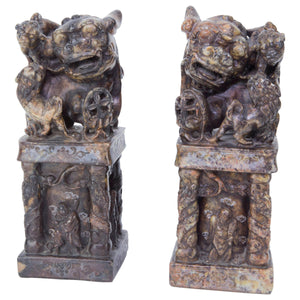 Antique Pair Chinese Foo Dog Carved Stone Seal Chops