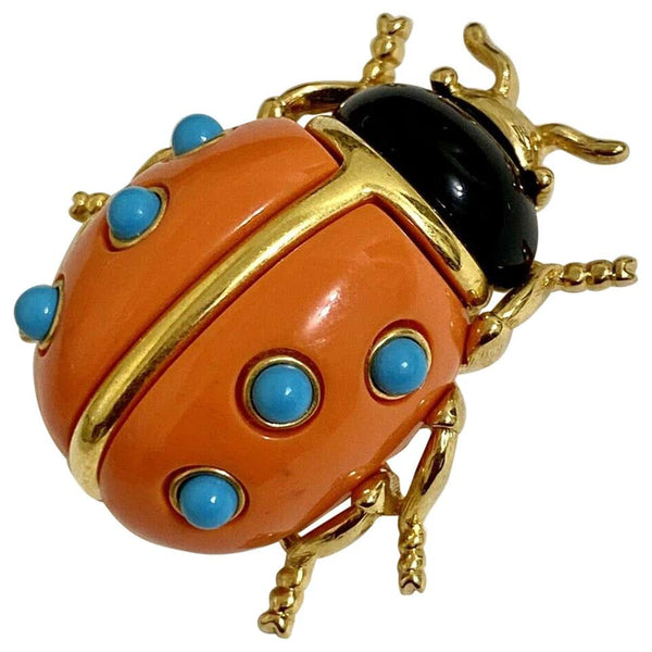 Signed KJL by Kenneth Jay Lane Faux Coral and Turquoise Ladybug Brooch Pin
