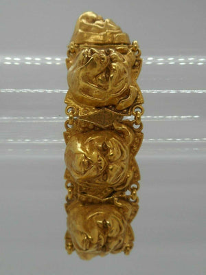 Bulldog Head Askew London Gilt Link Bracelet