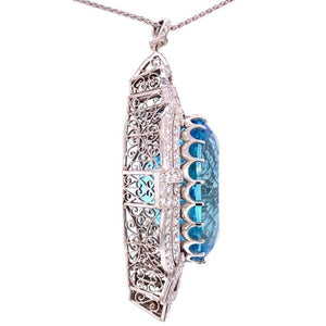 53 Carat Aquamarine and Diamond Art Deco Style Platinum Necklace