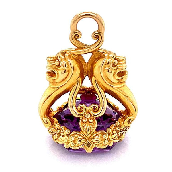 Amethyst Intaglio Watch Fob Pendant Amulet Estate Fine Jewelry