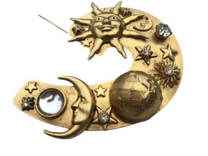 Large Vintage Askew of London Astrological Planet Sun Moon Brooch Pin