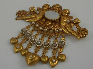 Vintage Askew London Cherub Hearts and Flowers Estate Brooch Pin