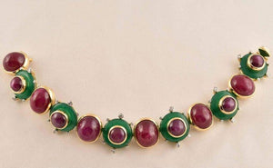 Exquisite Tony Duquette Ruby, Star Ruby, Agate and Diamond Gold Bracelet