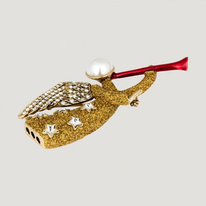 Butler Wilson Designer Signed BW Gold Glitter Crystal Angel with Horn Brooch Pin