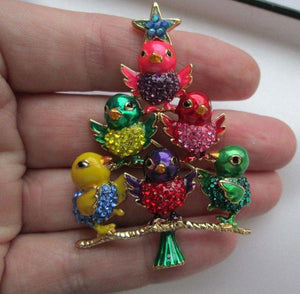 Butler Wilson Designer BW Enamel and Crystal Chick Bird Tree Brooch Pin