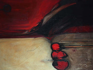 Marlene Burns Modern Abstract Acrylic Mixed-Media Painting Titled Ballz, 2008