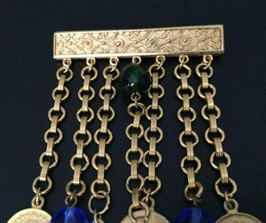 Vintage SIGNED BEN-AMUN Dangling Link Coin Brooch Pin Estate Jewelry