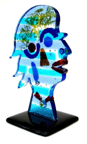 Spectacular Murano Artist Signed Art Glass Face Sculpture Tribute to Picasso