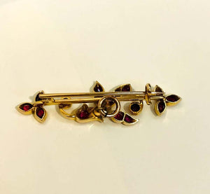 Antique Edwardian Ruby Gold Bar Brooch Pin Estate Fine Jewelry