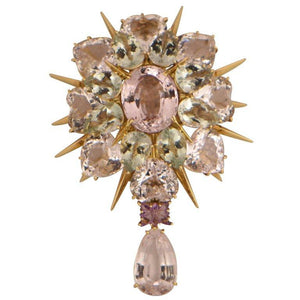 Awesome Tony Duquette Kunzite Amethyst Heirloom Quality Gold Brooch Pin