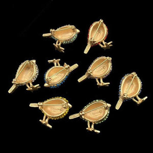 Amazing CINER 8 Flock of Bird Pins Estate Collection Vintage Jewelry Brooch Pins