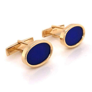 Stylish Classic Blue Lapis Lazuli Gold Cufflinks Estate Fine Jewelry