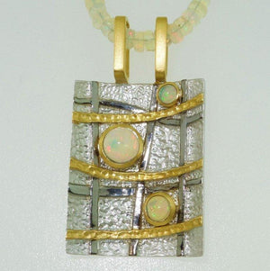 Vintage Opal Pendant Necklace Sterling Silver Gold Accents Estate Fine Jewelry