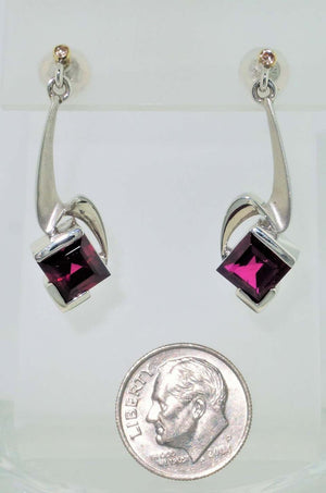 Rubelite Tourmaline and Diamond Gold S/S Drop Earrings Fine Estate Jewelry