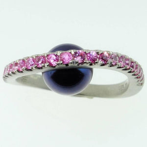 Beautiful Black Peacock Pearl and Pink Sapphire Ring