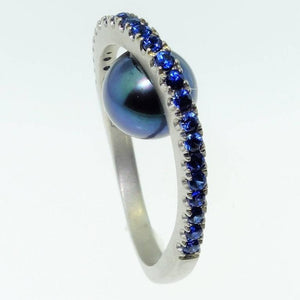 Lucious Black Pearl and Blue Sapphire Sterling Silver Ring